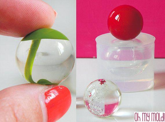 Clear Mold for Sphere 2 cm diameter ,Mold for resin Ball