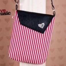 Černá taška Dafné -  Červenobílý proužek by Love music