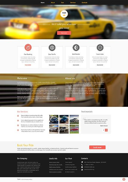Template 51077 - Taxi Service  Responsive Website Template