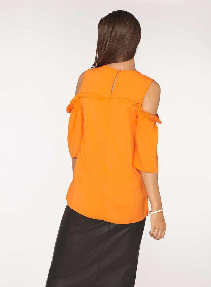 Womens **Tall Orange Cold Shoulder Top- Orange