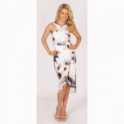 3RD LOVE A Painter's Garden Halter Drape Dress