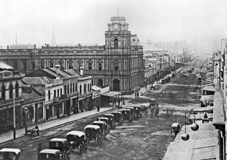 1870's Bourke St looking East, Post Office building on the left, Cnr Bourke & Elizabeth.