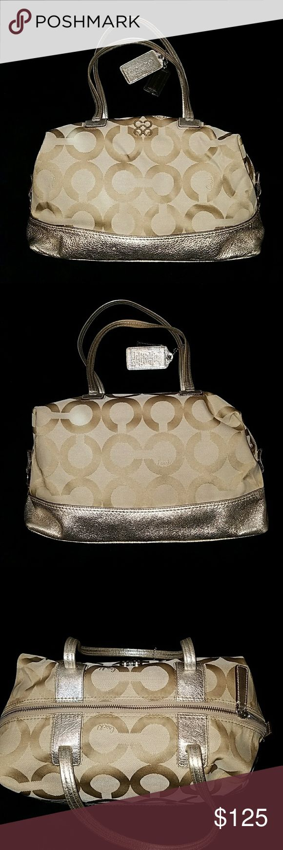 Coach Purse Poppy style, Champagne color Coach purse in great condition! Slightly used and clean inside.  Beautiful purse and matches everything! Coach Bags Shoulder Bags