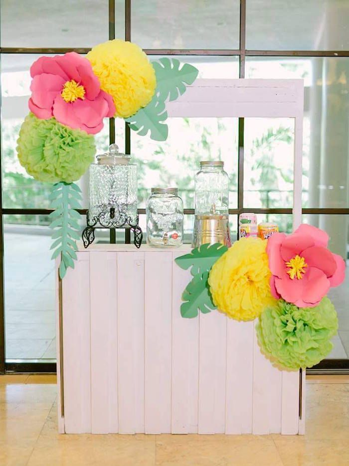 Drink stand from a Tropical Flamingo Themed Birthday Party via Kara's Party Ideas - KarasPartyIdeas.com (31)
