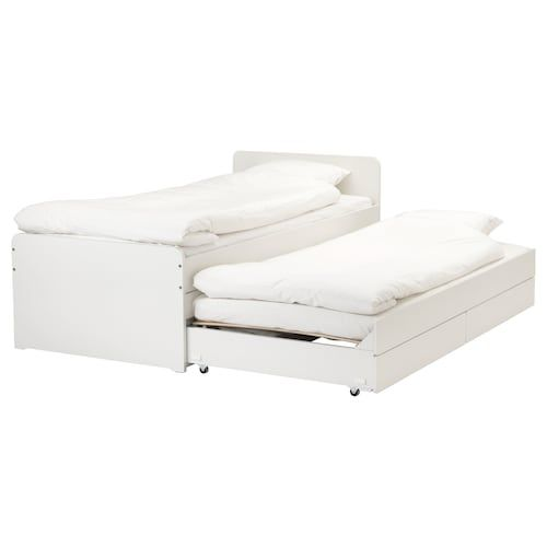 Ikea Slakt Bedframe Met Onderbed En Opberger Bedkader Ikea Bed Bedden Opslag
