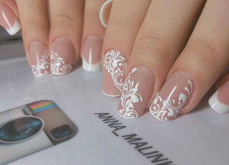 Наращивание ногтей. свадебный дизайн фото