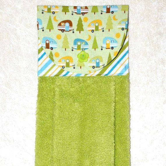 Hanging Bath Towel • Green Hand Towel • Camping Decor • Glamping • Teardrop Trailer • Airstream • Pod Camper • Camping • Kitchen Gift