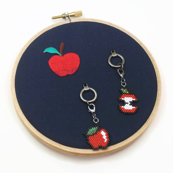 Apple Charms And Holder Decor Set, Gift For Teacher, Planner Charms,... ($14) ❤ liked on Polyvore featuring home, home decor, apple notebook, apple home decor, apple note book and zipper notebook