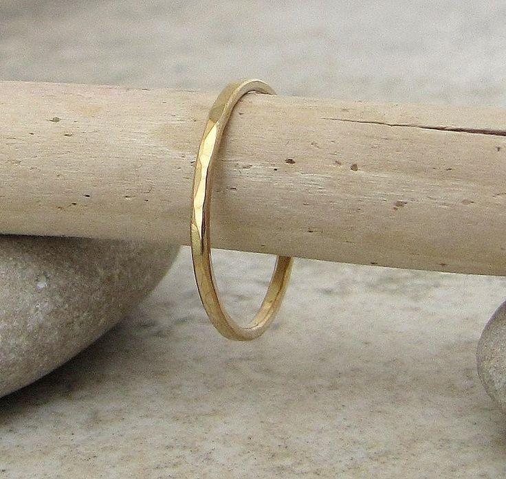 Women's Gold Wedding Ring Hammered Gold Wedding Band 14k Thin Gold Wedding Bands Simple Gold Wedding Rings Stacking Gold Ring by SilverSmack