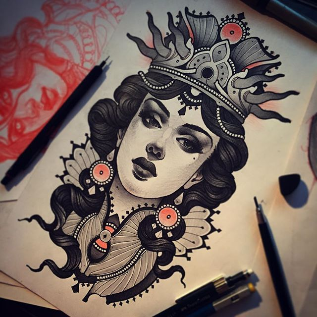 Tattoo Flash neotraditional black and grey queen portrait. By Vitaly Morozov in Moscow, Russia.