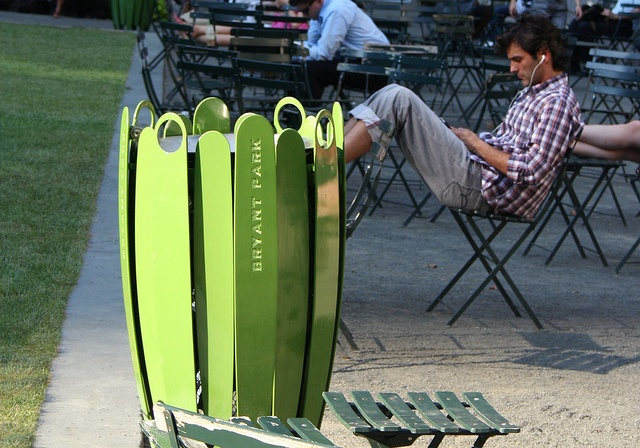 2010: Bryant Park's custom designed, nature-inspired trash and recycling receptacles turn trash disposal into accents to the park's landscape.