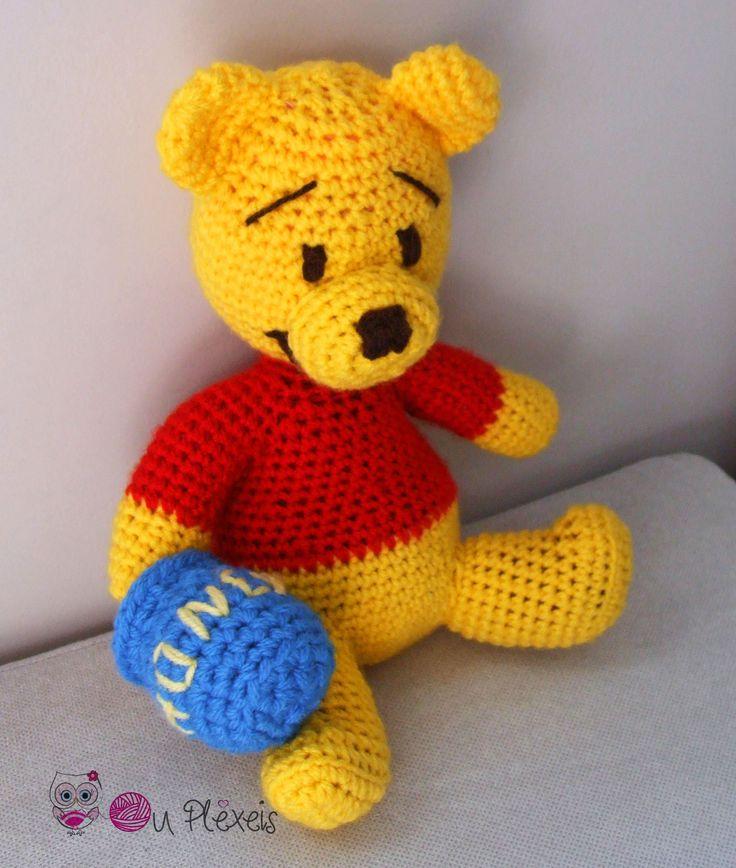 Teddy Bear Winnie the Pooh, Amigurumi Winnie, Crochet Bear Stuffed Animal, Kids Toy, Nursery Toy, Winnie Plush Amigurumi, Crochet Winnie by Ouplexeis on Etsy