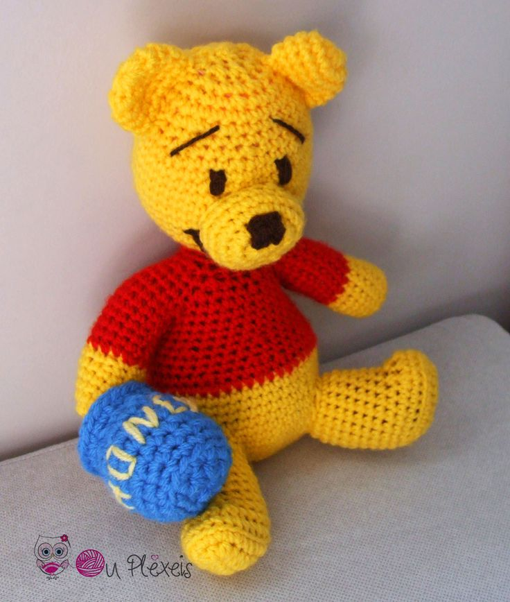 Teddy Bear Winnie the Pooh, Amigurumi Winnie, Crochet Bear Stuffed Animal, Kids Toy, Nursery Toy, Winnie Plush Amigurumi, Crochet Winnie by Ouplexeis on Etsy