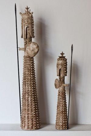 Ceramic warriors by ceramist Angelo Scianella from Oristano, Sicily, Italy