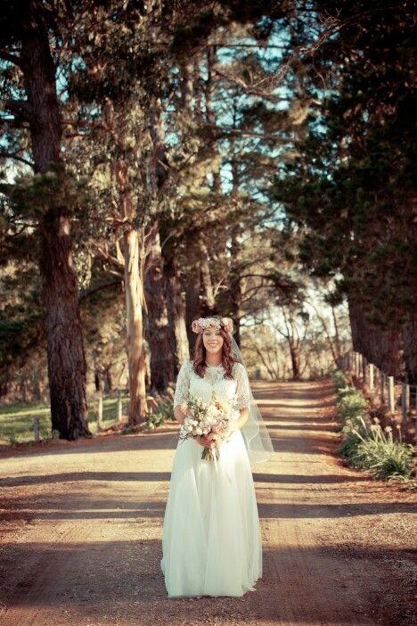 Flower crown, winery wedding, caleche wedding dress