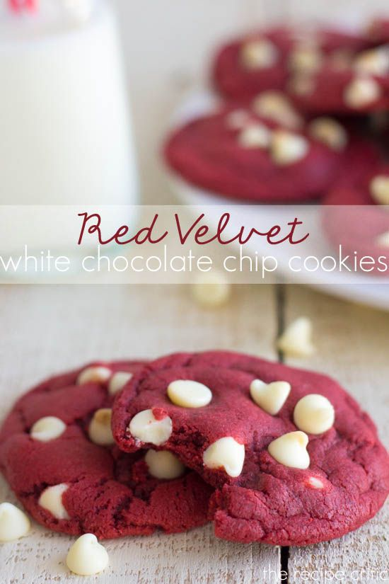 Red Velvet White Chocolate Chip Cookies. Perfect for Valentine's Day!