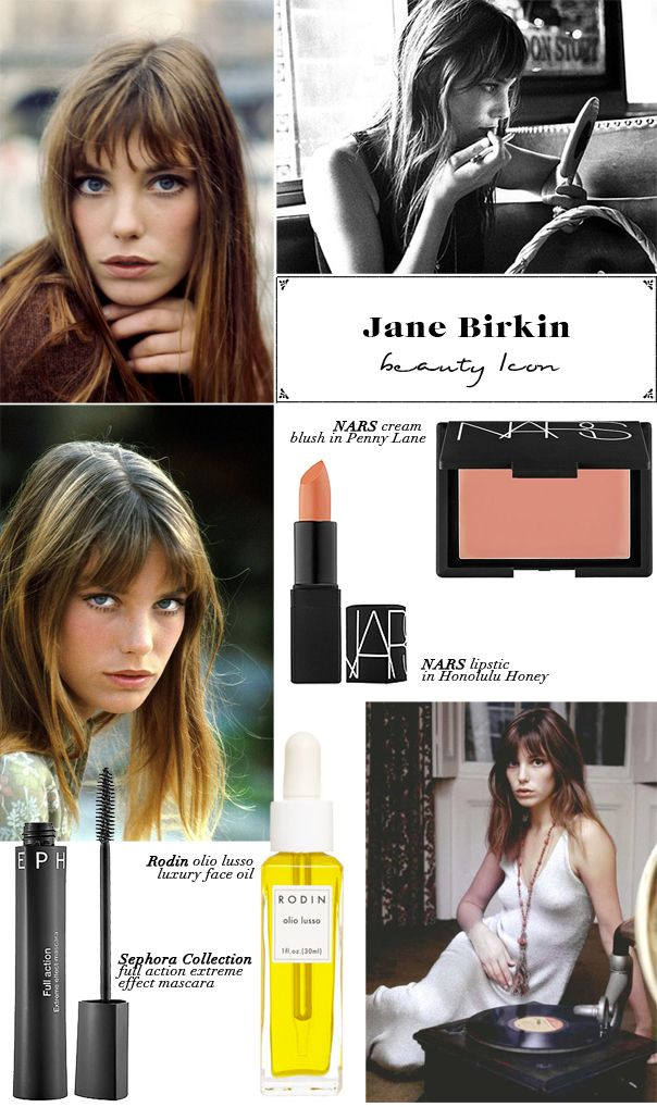 Jane Birkin. Her tousled hair and glowing, fresh face really expressed summertime beauty. Jane's makeup was simple and very natural. The biggest step to recreating her look is beautiful, clean skin