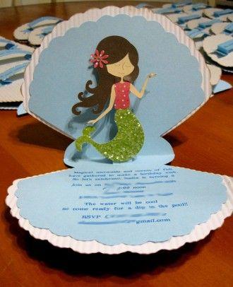 convite de aniversário sereia