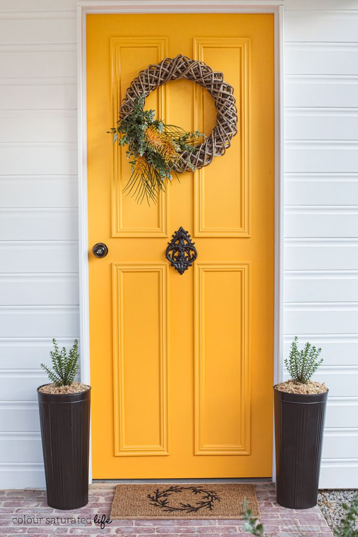 Colour Saturated Life | Front Door Makeover with Modern Masters Front Door Paint in Optimistic: