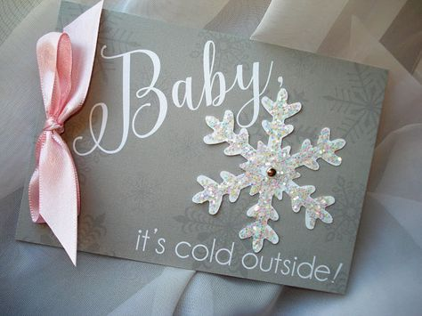 OH BABY! Brrrrrrr...... Its Cold Outside! This 2-page grey and pink baby shower invitation with glitter snowflake embellishment is sure to be memorable for new mommy and guests alike. It is a smaller version of my Winter Wonderland wedding invitation in my shop! (Please click on images to see clearer, larger photos!) THIS LISTING is for one sample invitation with your information printed. Customizable! The envelope your sample will arrive in is the same envelope included with the set. ***...