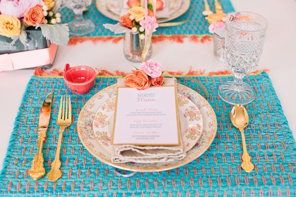 will you be my bridesmaid party // pink and blue place settings