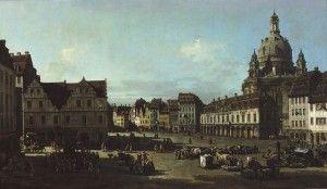 Bernardo Bellotto, Il Mercato Nuovo di Dresda visto dalla Moritzstrasse,1750 circa, Olio su tela, 134,5 x 231 cm