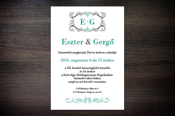 Classic Wedding Invitation, Wedding Invitation, Green Wedding Invitation