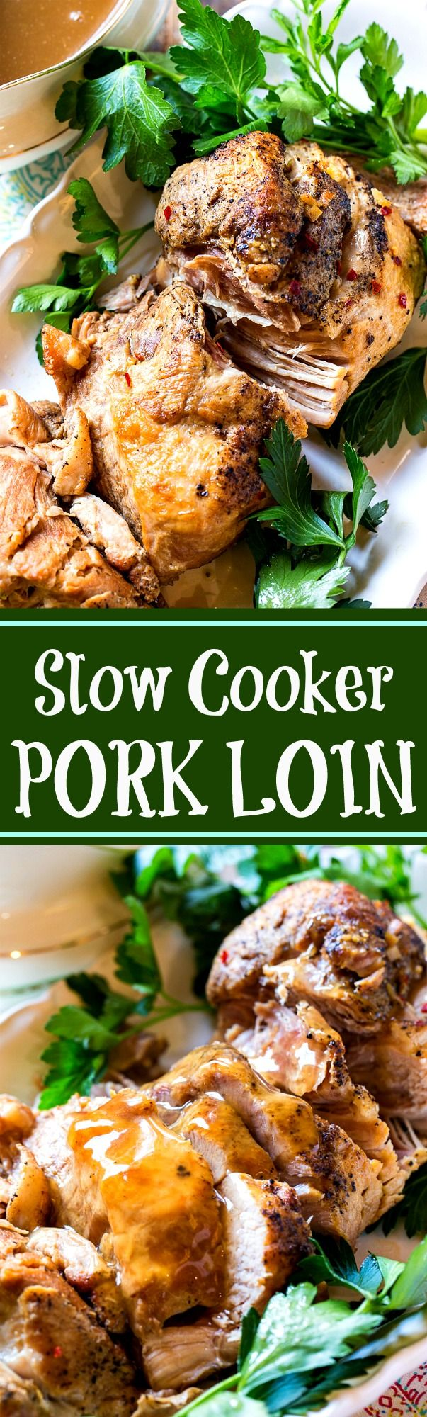 Slow Cooker Pork Loin with gravy. So tender and juicy!