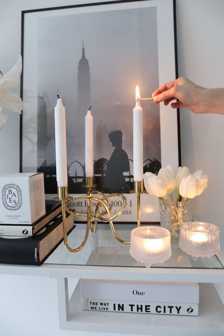 Homevialaura | Iittala Ultima Thule votives | Svenskt Tenn Vänskapsknuten candelabra in brass