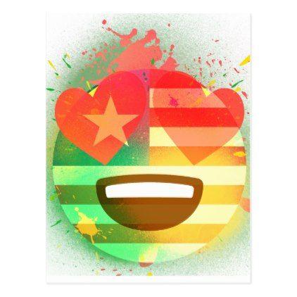 Love Smile America flag Emoji Spray Paint Art Postcard - love cards couple card ideas diy cyo