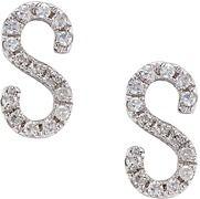 CR by Casa Reale 14 K Gold White Diamond S Initial Earrings.