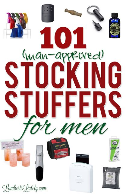 List of Christmas stocking stuffer ideas for men…prices range from cheap to more pricey, and gift ideas could be used for fathers, boyfriends, or husbands! This list even breaks ideas down into categories (handy man, hunting, techie, DIY, etc.). Great list of unique, small gifts that could be used year-round!