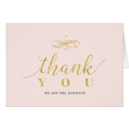 Simple Elegant Gold Wedding Thank you note card - bridal shower