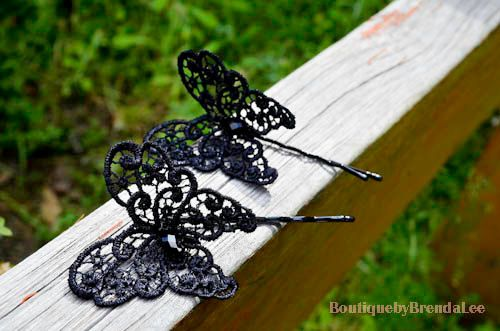 Black lace butterfly with crystal bobby pin by BoutiquebyBrendaLee,