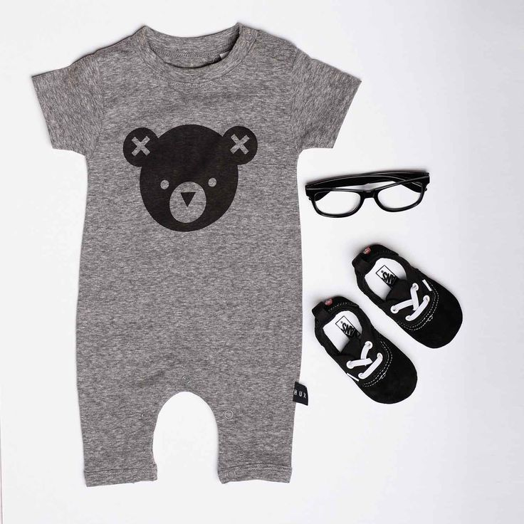 Huxbaby Hux Bear Short Sleeve Romper, available from www.babydino.com.au