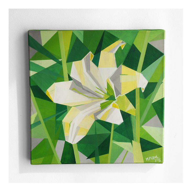 OBRAZ AKRYLOWY KWIAT 01 biała lilia akryl na płótnie 30 x 30 cm, autorstwa Magdaleny Purol, 300 PLN #acrylic #whitelily #lily #painting