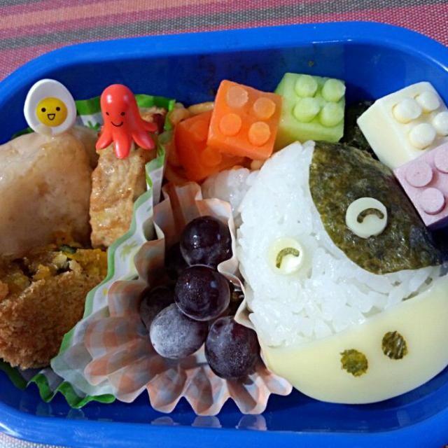 7回目(7月)の息子のお弁当♪ 牛のおにぎりとLEGO風おかず♪ - 2件のもぐもぐ - 幼稚園お弁当(年少) by TSUKI