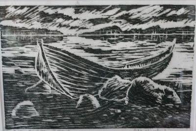 Rosmariini Lokero. Yksinäinen vene (puupiirros).