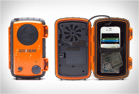 I've got one of these, completely waterproof, great sound. Awesome for camping. ECOXPRO | EXTREME AUDIO CASE