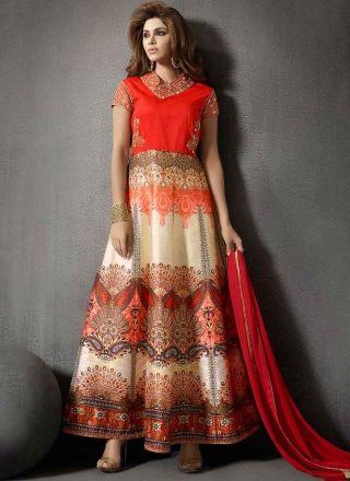 Digital Print Pita Work Silk Designer Anarkali Suit