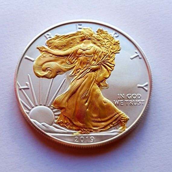 Items Similar To Gold Gilded 1oz American Silver Eagle 2019 Coin On Etsy In 2020 American Silver Eagle Silver Eagles Silver Eagle Coins