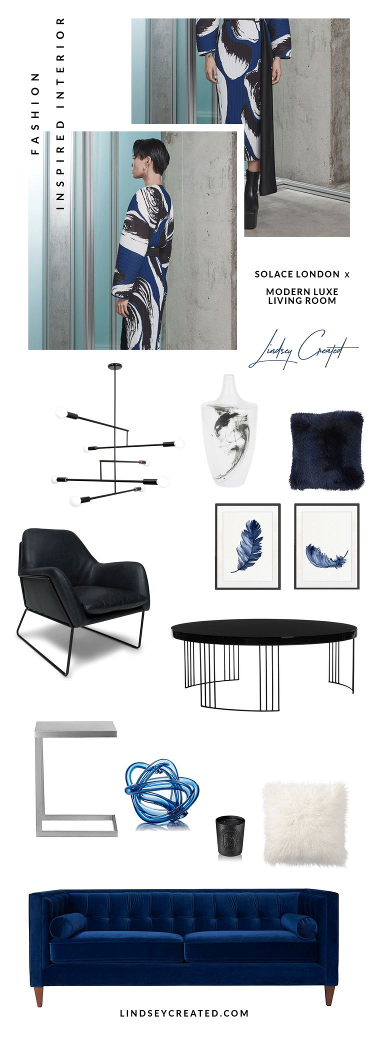 MODERN LUXE LIVING ROOM ITEMS: Solace London Else Dress ($565) | 5-ArmMobile Light ($2,000) | Ink Stain Vase ($93) | Rani Arabella Navy Fur Pillow ($995) | Forma Charme Black Leather Chair …