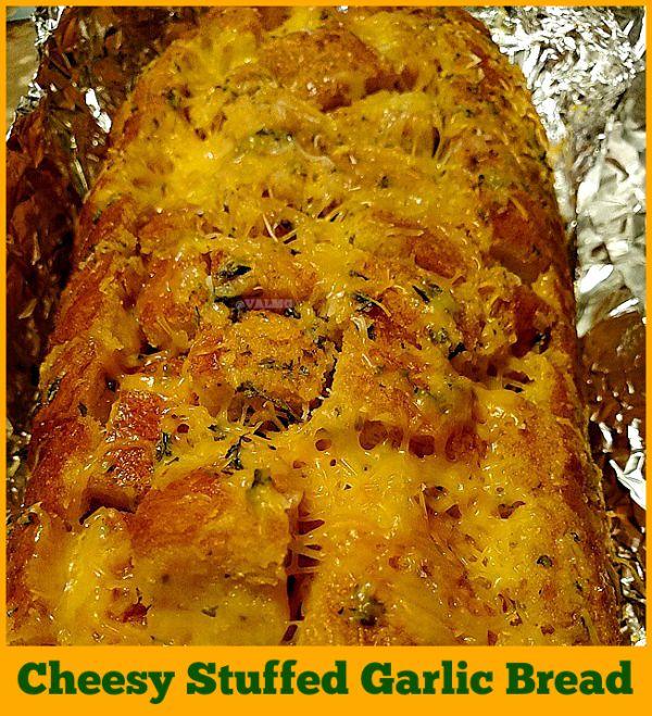 Homemade Cheesy Stuffed Garlic Bread - perfect recipe for day old bread.