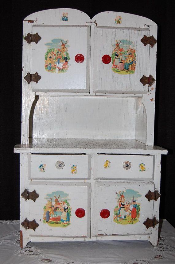 Antique Vintage Child S Doll S Play Hutch By