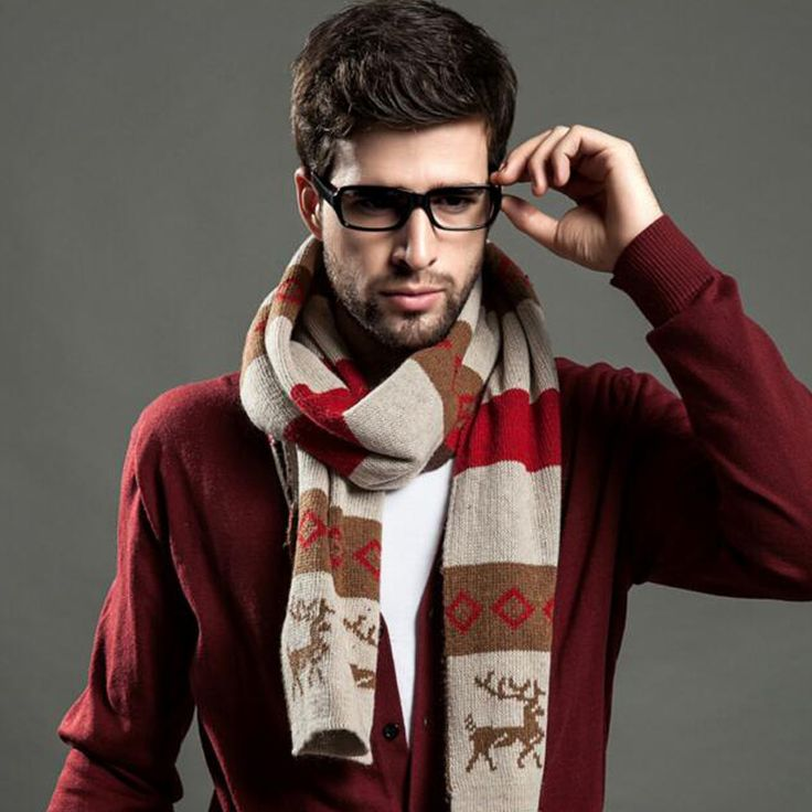 New men scarf for autumn and winter deer pattern men's fashion Striped scarves cotton plaid scarf High quality S02F3