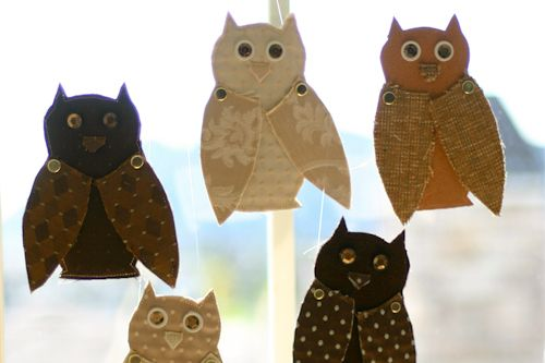 Fabric & paper Owls!!!  Can be used as window decor for Halloween or as party invites!!