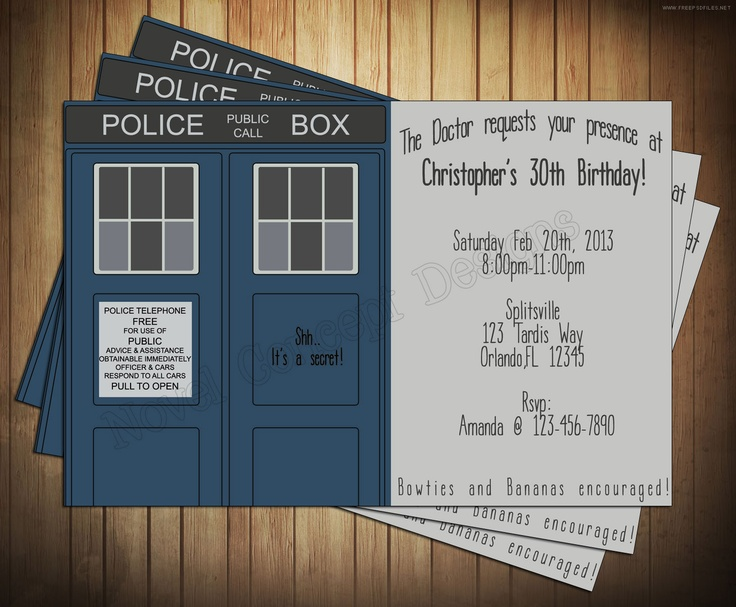 20 best First Birthday Doctor Who images – Doctor Who Party Invitations