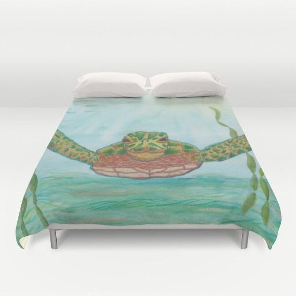Sea Turtle Duvet Cover or Comforter Ripley Duvet or Comforter Island... ($80) ❤ liked on Polyvore featuring home, bed & bath, bedding, duvet covers, home & living, silver, tortoise bedding, aqua duvet, aqua bedding and aqua pillow cases