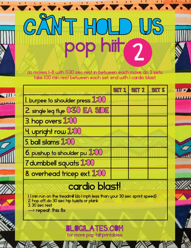 Can't Hold Us POP HIIT 2 Printable