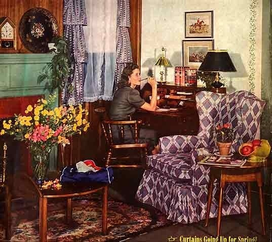 """The 'fabulous fourties"""" had a LOT of curtains, small armchairs (not huge couches). I find it interesting that everyone had a secretary style desk in living rooms back then."""